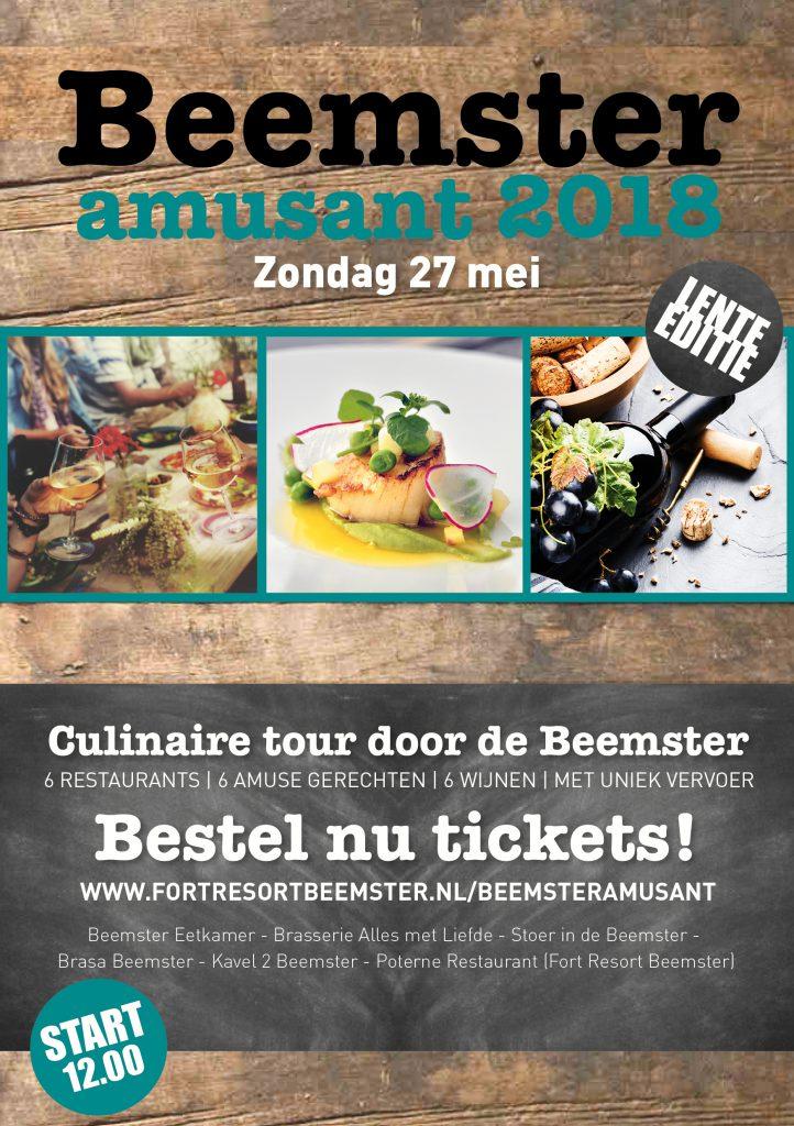 Beemster Amusant is een culinaire tour door de Beemster, langs 6 restaurants voor een amusegerechtje en mooie glas wijn!